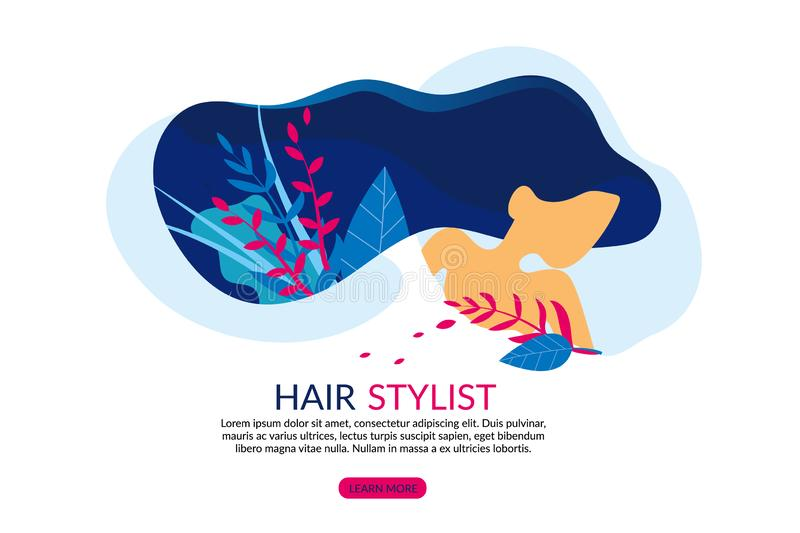 Girl with Hair, Hairdressing Salon with Stylist. royalty free illustration