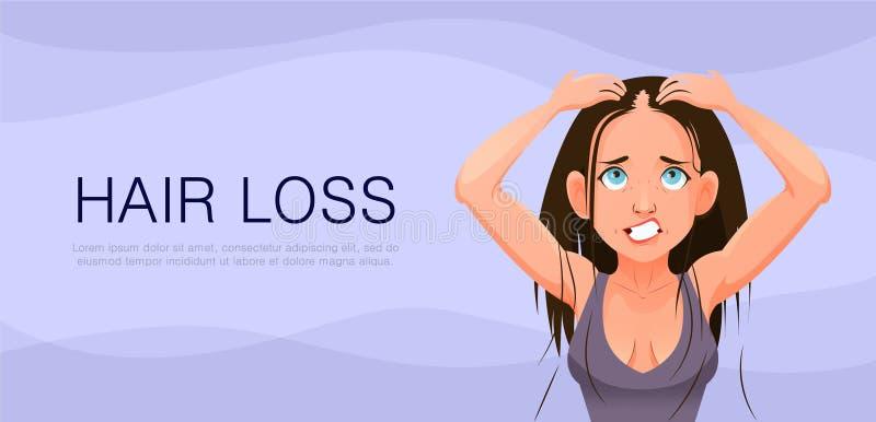 Girl with hair problem, fall, alopecia, damage, cartoon style. Girl with hair problem, fall, alopecia damage cartoon stock illustration