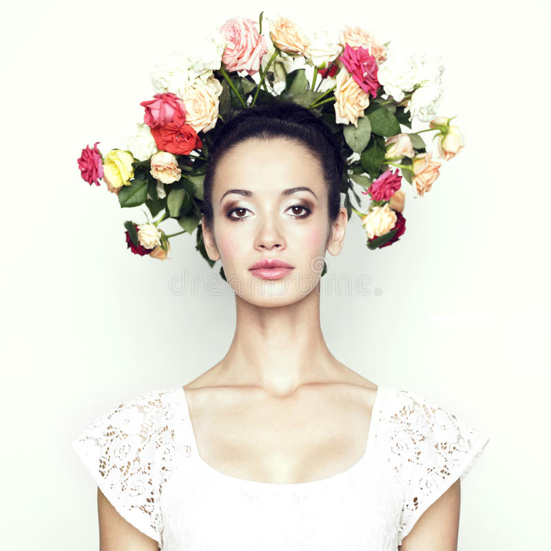 Download Girl with hair of roses stock photo. Image of grooming - 16119610