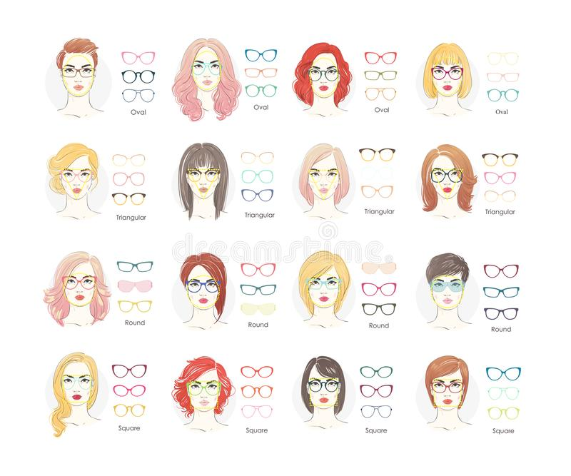 Girl haircut glasses type. Woman haircut glasses type or set. Flat vector sunglasses collection illustration. vector illustration