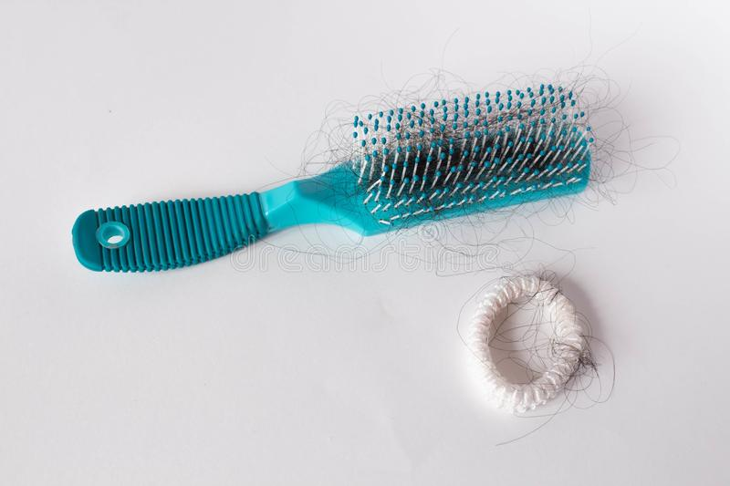 Girl Hairs fall with a comb and problem hair on white background. Hair fall or loss with blush is a problem of women. Girl Hairs fall with a comb and problem royalty free stock photography