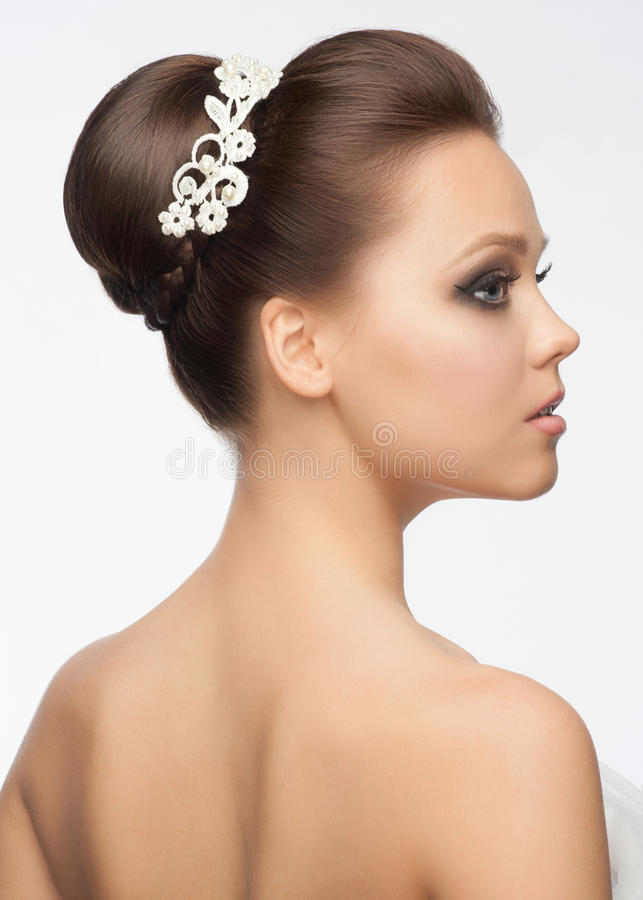 Girl with hairstyle and makeup stock images