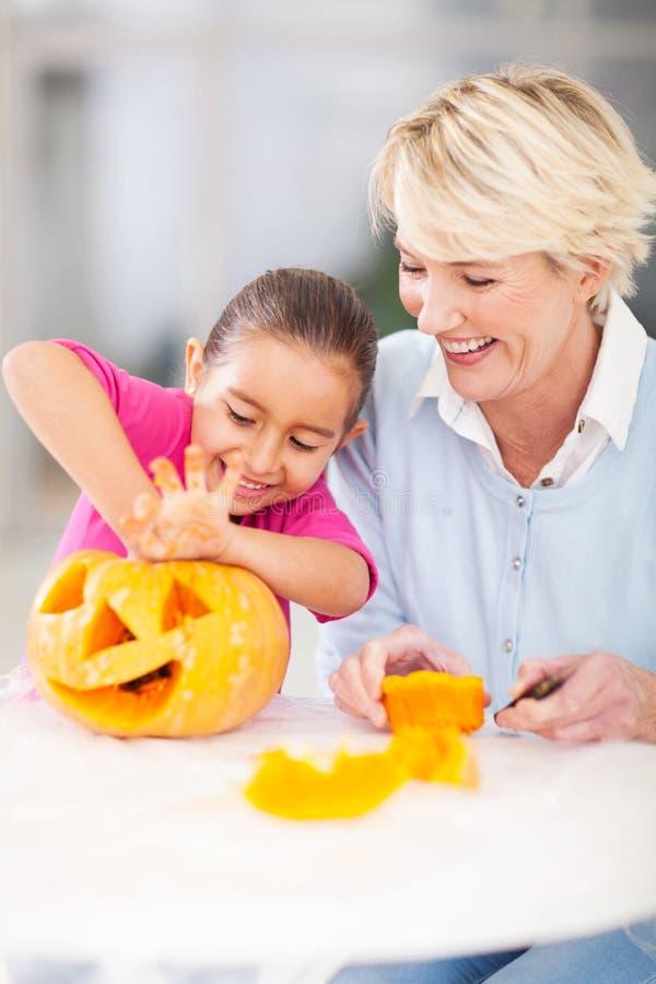 Free Girl Halloween Pumpkin Granny Stock Photography - 34174972