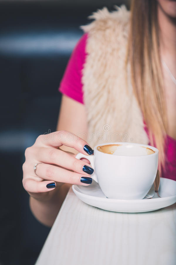 Girl Hand Holding Coffee Cup Stock Photo - Image of closeup, close ...