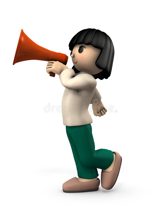 A girl with a hand microphone. She is appealing for something. White background. 3D illustration stock illustration