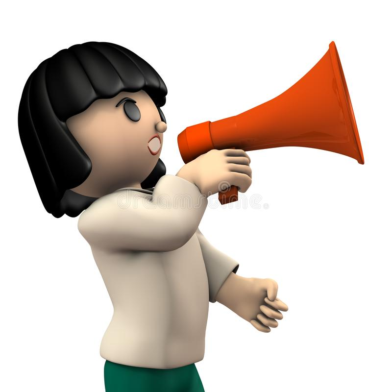 A girl with a hand microphone. She is appealing for something. White background. 3D illustration vector illustration