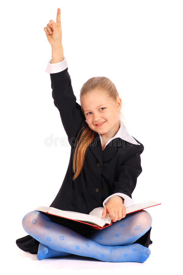 Download Girl With Hand Raised... I Know The Answer Royalty Free Stock Photography - Image: 15342557