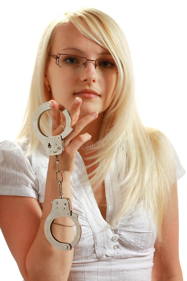 Girl with handcuffs royalty free stock photos