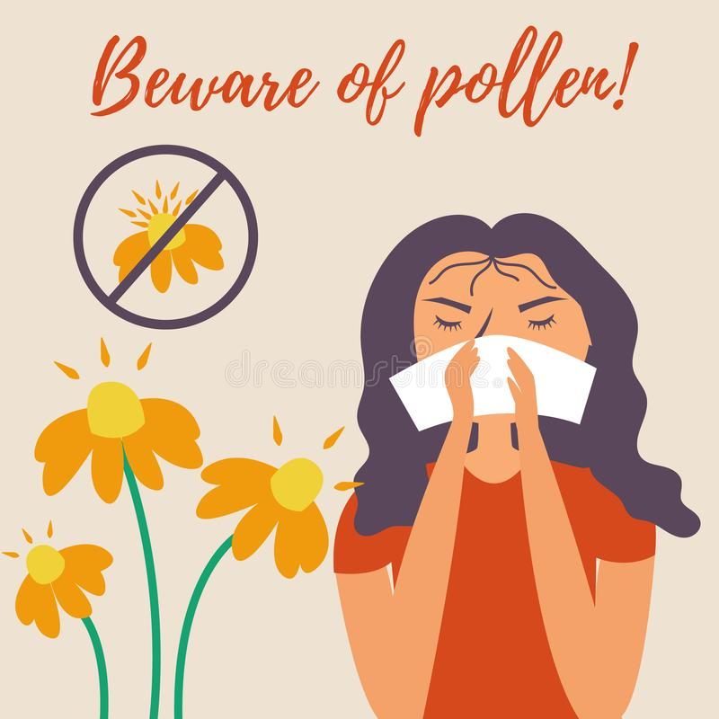 Girl with a handkerchief sneezes. Allergy. Runny nose. Allergy to pollen flowers. Watch out for pollen. Vector editable illustration vector illustration