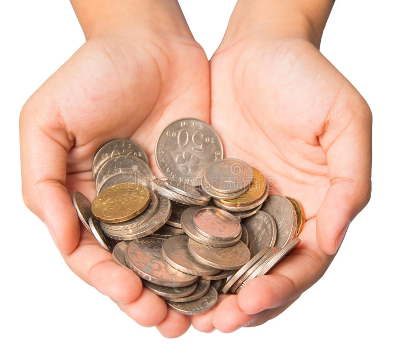 Girl Hands With Coins royalty free stock photo