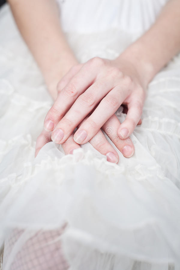 Download Girl with hands on lap stock photo. Image of hands, fingers - 22167636