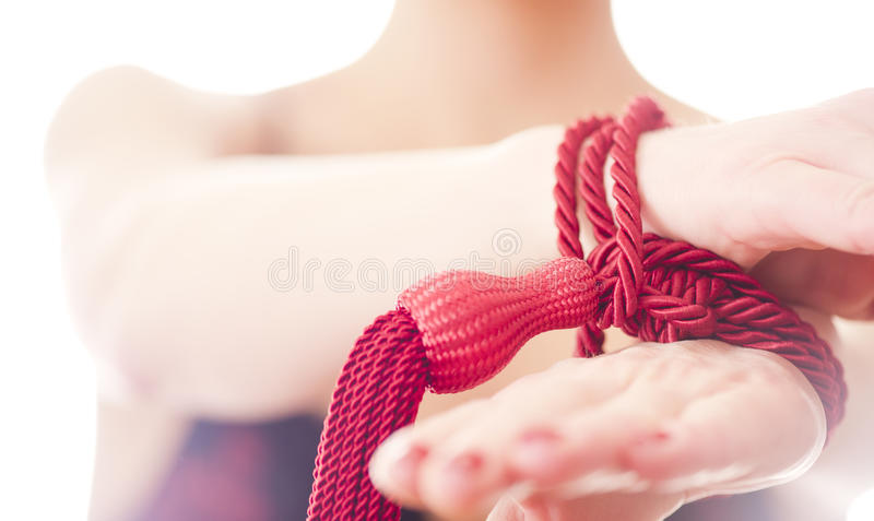 Girl hands tied bondage. For bdsm sex royalty free stock photography