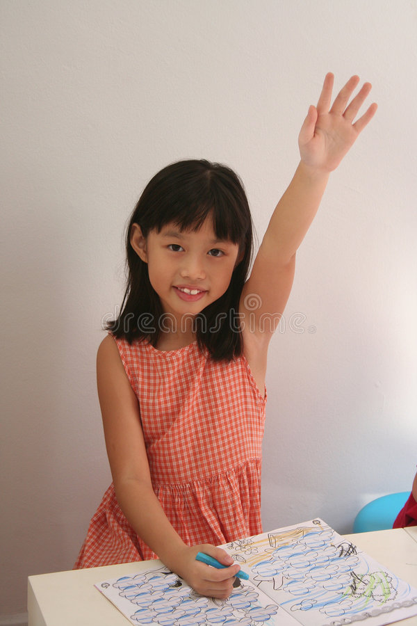 Girl hands-up royalty free stock photography