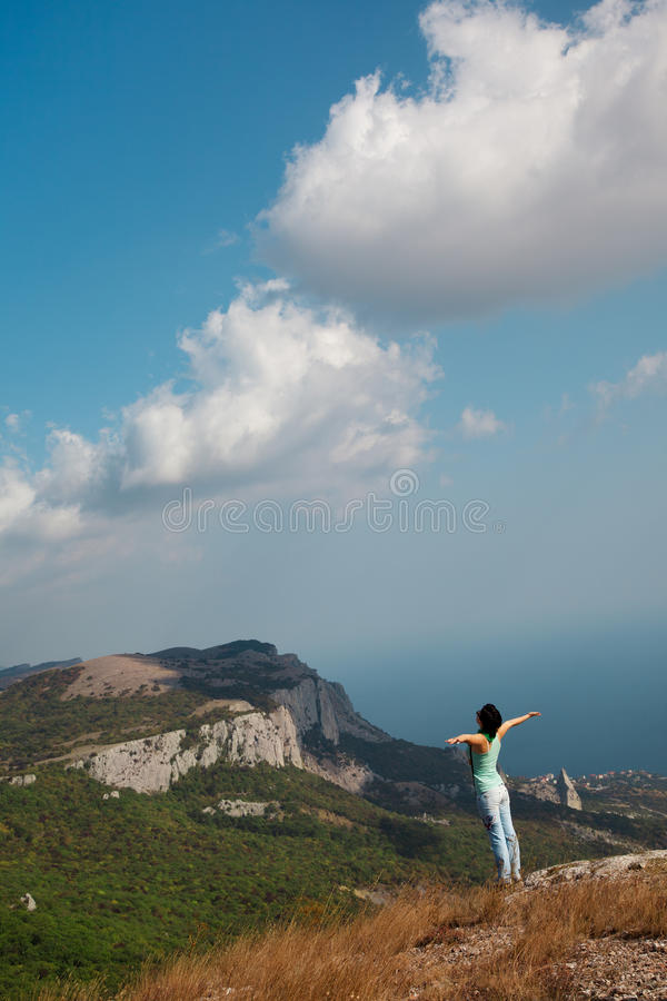 Download Girl with hands up stock image. Image of feeling, clouds - 21770803