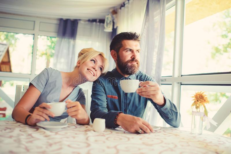 Girl with happy face fall in love with bearded man royalty free stock images