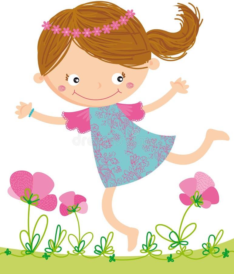 Girl_happy_field ilustração stock