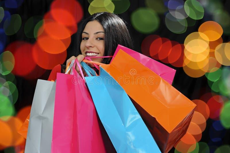 girl happy shopping στοκ εικόνα με δικαίωμα ελεύθερης χρήσης