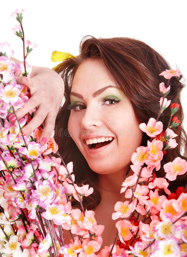 Download Girl With Happy Smile, Spring Flower And Butterfly Royalty Free Stock Images - Image: 13806829