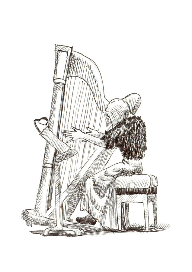 Girl with harp