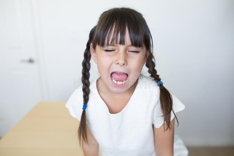 Angry Child with a facial expression royalty free stock image