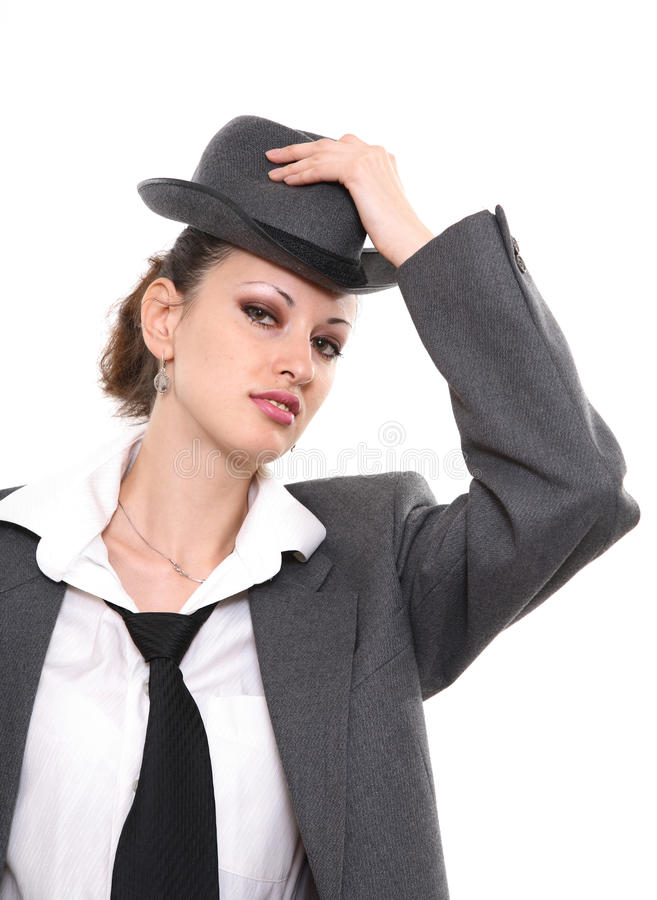 The Girl With A Hat Royalty Free Stock Photos