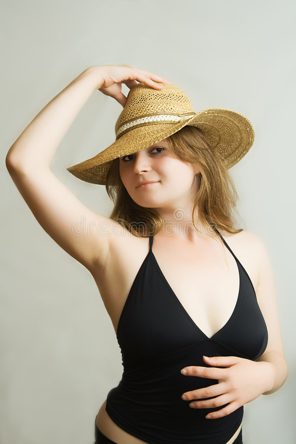 Download The girl in a hat stock image. Image of attractive, curl - 952425