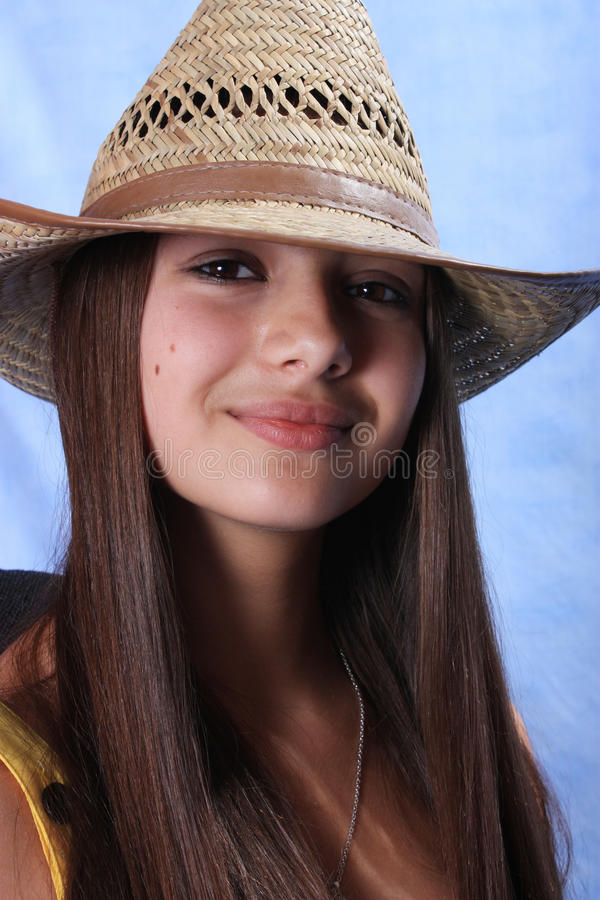 Download The Girl In A Hat Of The Cowboy. Stock Image - Image: 10829061