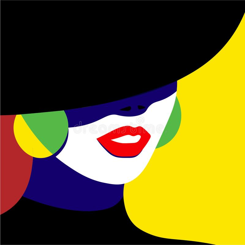 Girl in hat in pop art style fashion woman. Vector graphics stock illustration