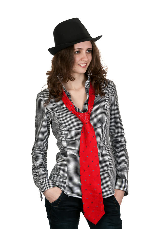 Girl In A Hat And A Red Tie Stock Photography