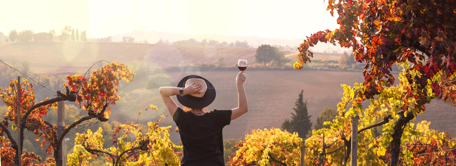 Girl in a hat at sunset and a glass of wine in hand. Nature Italy, hills and grape fields the sunlight. Glare and sun rays in the stock photography
