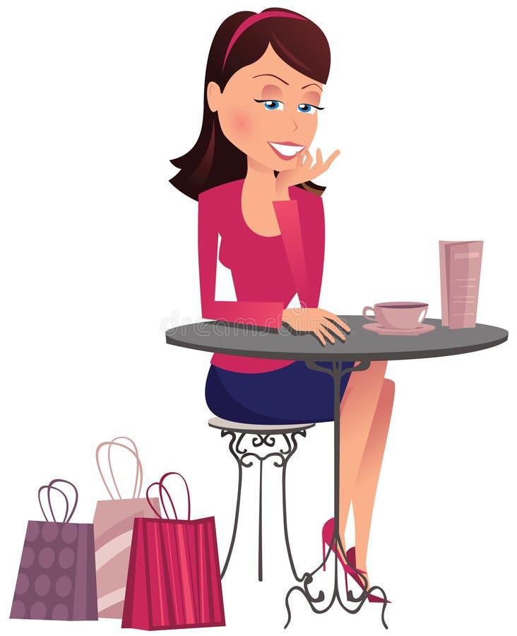 Girl having coffee break royalty free illustration