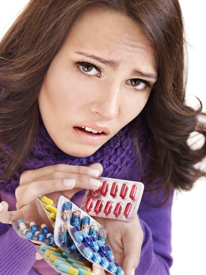 Download Girl Having Flu Taking Pills Stock Image - Image: 18005683