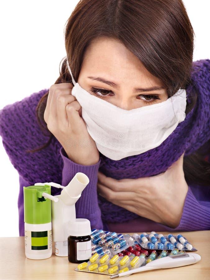 Download Girl Having Flu Taking Pills Stock Image - Image: 18006325