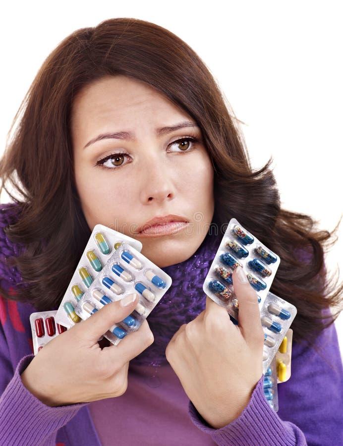 Download Girl Having Flu Taking Pills Stock Photo - Image: 21533982