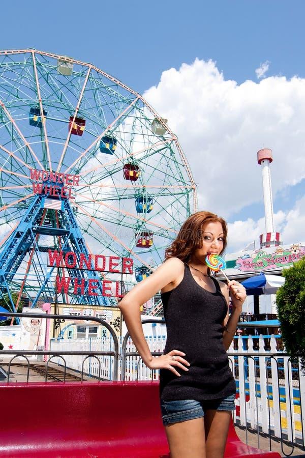 Girl Having Fun In Amusement Park Stock Image