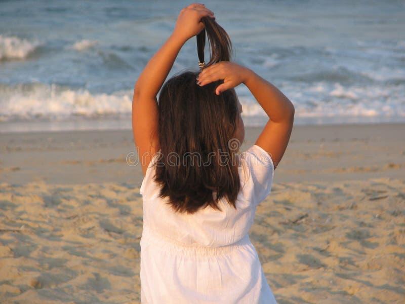 Girl Having Fun on Beach stock photos