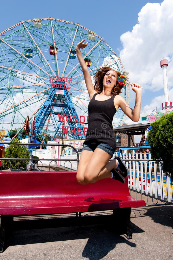 Free Girl Having Fun In Amusement Park Stock Photography - 15383602
