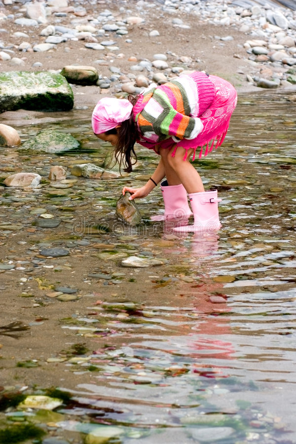 Girl having fun in rockpool royalty free stock photography