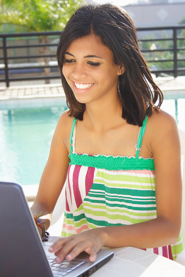 Free Girl Having Fun With Notebook Royalty Free Stock Photo - 6557945