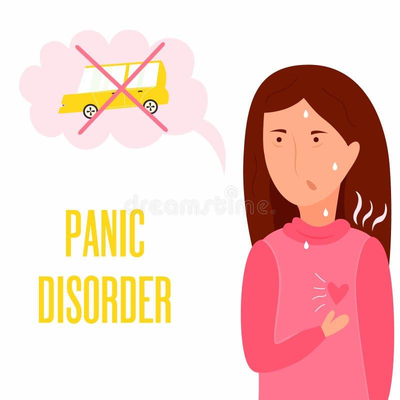 Girl having panic attack. Health problem vector illustration