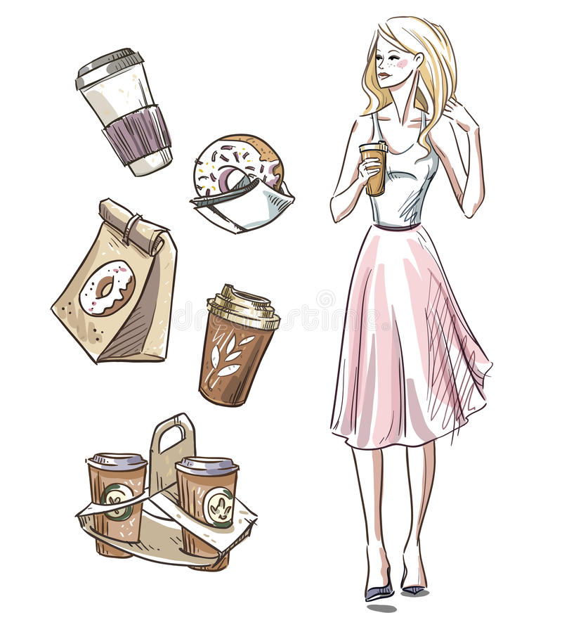 Girl having a snack. Donuts and coffee. Take away royalty free illustration