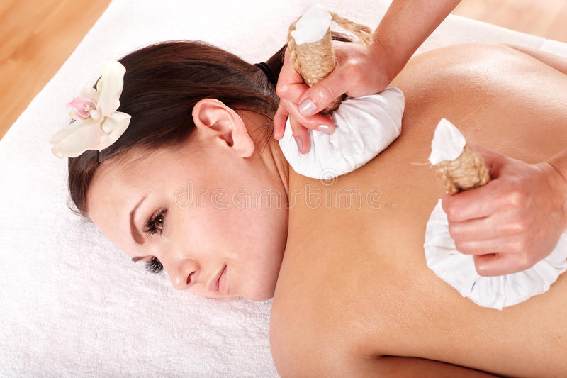 Download Girl  Having Thai Herb Compress Massage. Stock Images - Image: 13796904