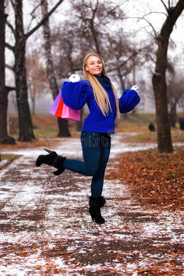 Download Girl Having A Walk Outdoor In Wintertime Stock Image - Image of outsides, gloves: 22419821