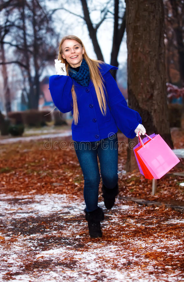 Download Girl Having A Walk Outdoor In Wintertime Stock Photo - Image: 22419898