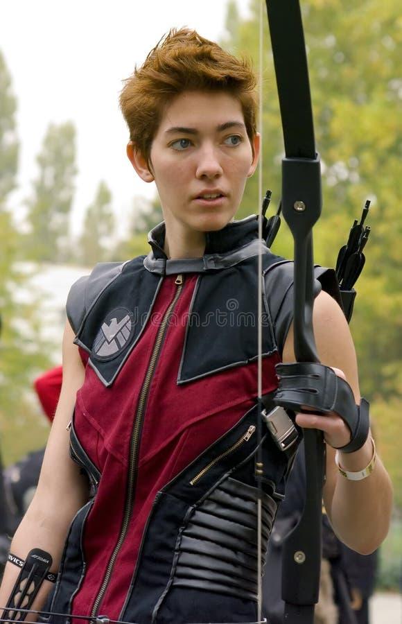 Girl in Hawkeye cosplay stock photography