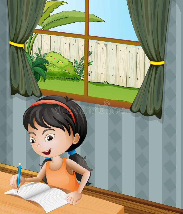 A girl with a headband writing vector illustration