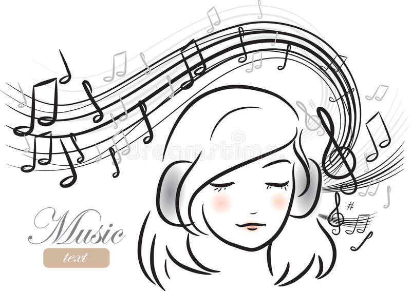 Girl with headphones royalty free illustration