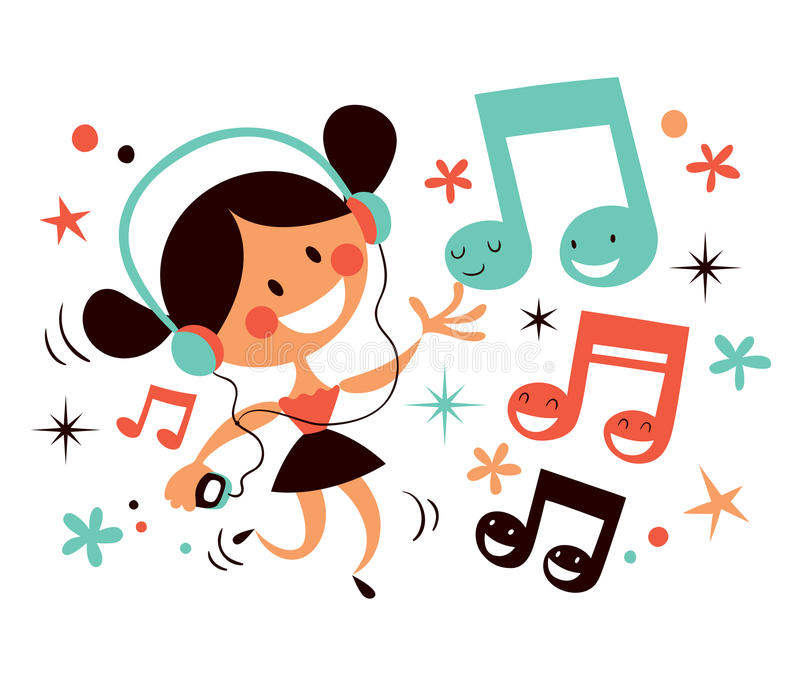 Download Girl with headphones stock vector. Image of disco, dance - 24113252