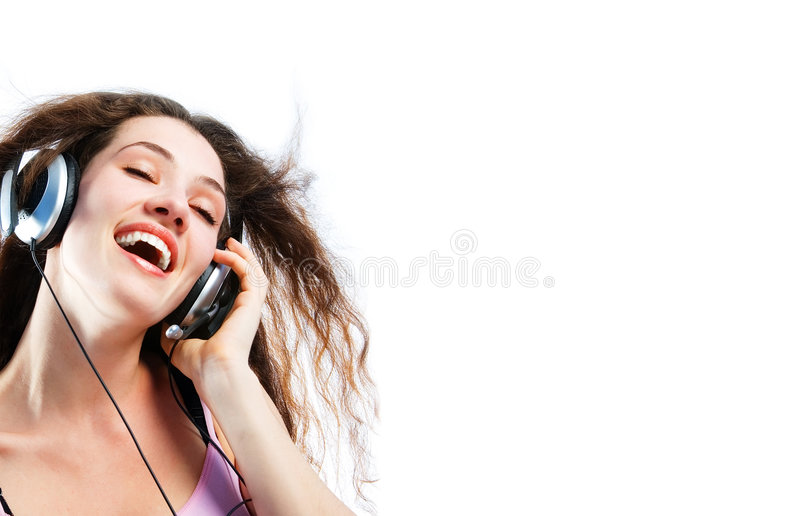 Girl in headphones 4. Girl in headphones on a white background stock images