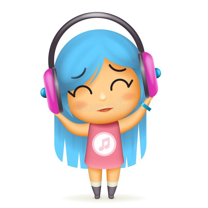 Girl headphones happy listen music isolated 3d cartoon design vector children Illustration stock illustration